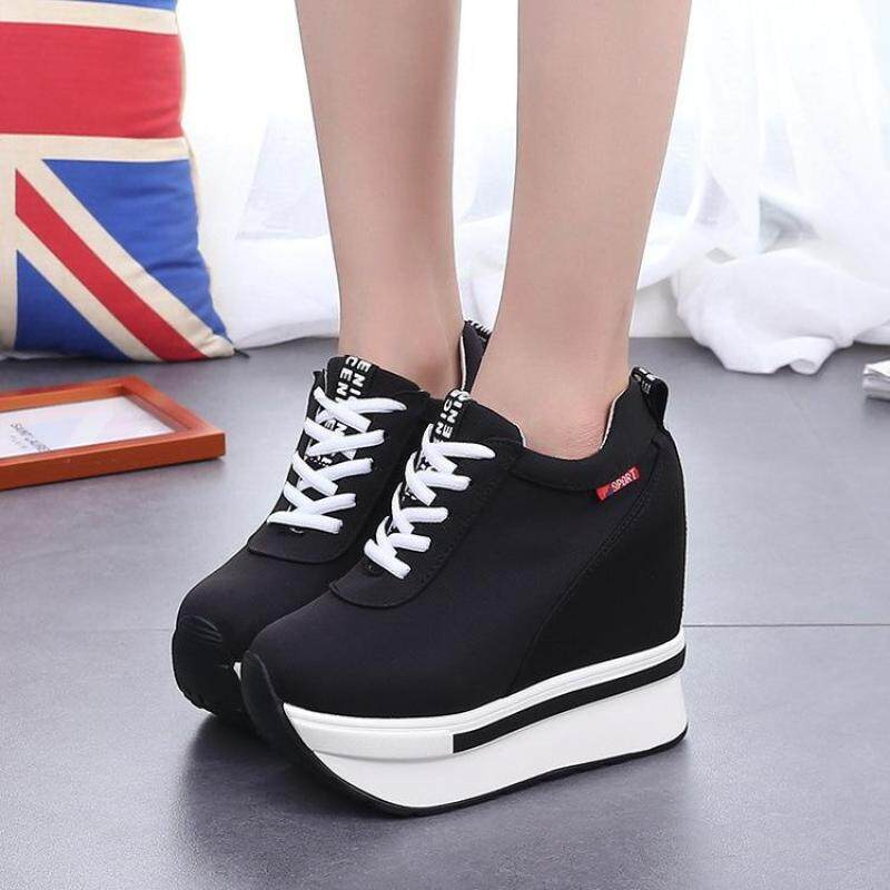 2f2eda6b2f6 Female Casual Height Increase Shoes Lady Fashion Platform Footwear Solid  Color Girl Wedge Shoes