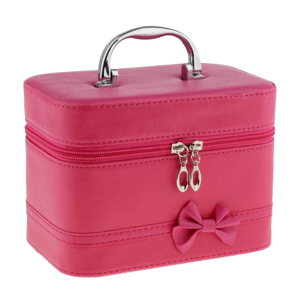 MagiDeal Portable Handbag Zipper Makeup Cosmetic Organizer Storage Case Box Rose Red