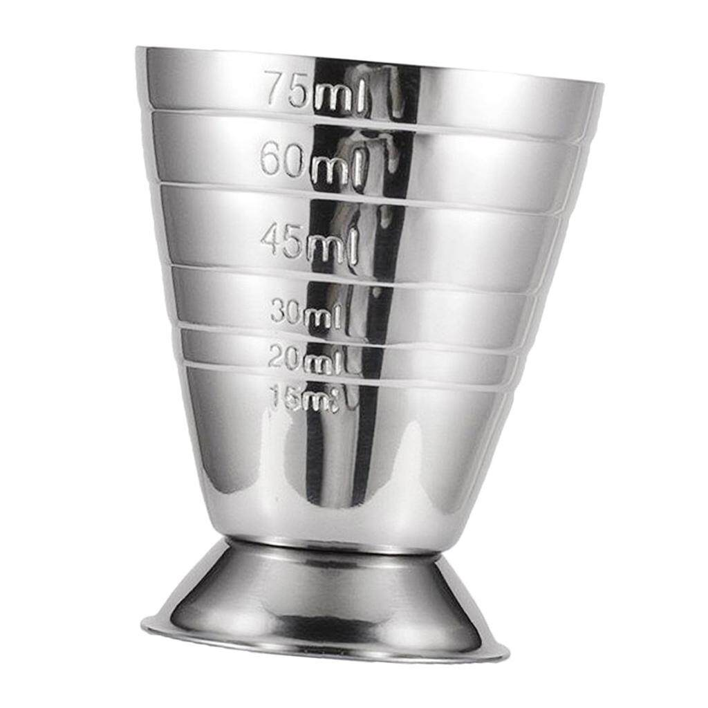 Dolity 1pc Precise Bar Jigger Stainless Steel Cocktail Measuring Cup 75ml Silver