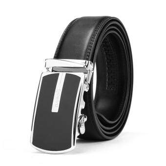 Men 's Korean Style leather belt male Automatic buckle business cowhide glossy alloy belt youth Fashion belt 125cm