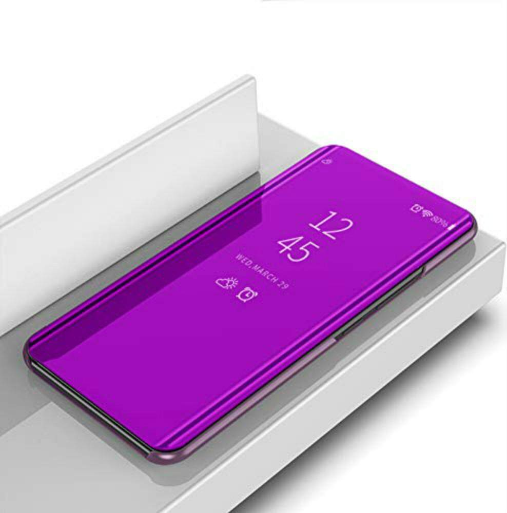 OPPO F9 Case, DuGe Case Clear View Case Berdiri dengan Cermin Plating Flip Case untuk OPPO F9 242646