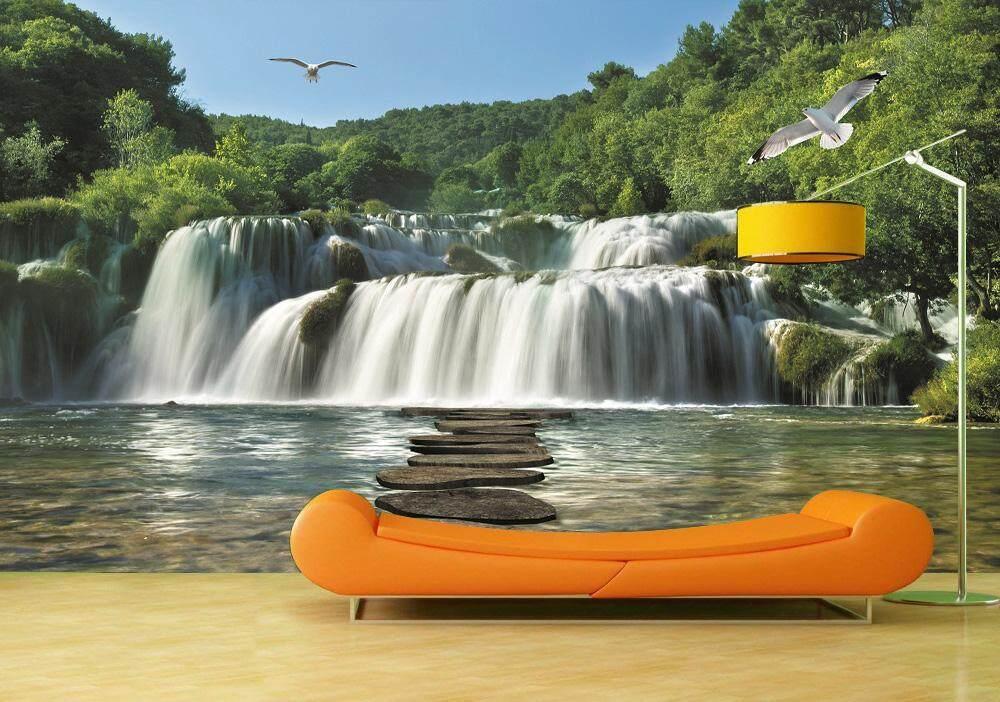 Custom Wallpaper Sticker Mountain Waterfall For Living Room Sofa TV 3D Mural Wallpaper Home Decoration