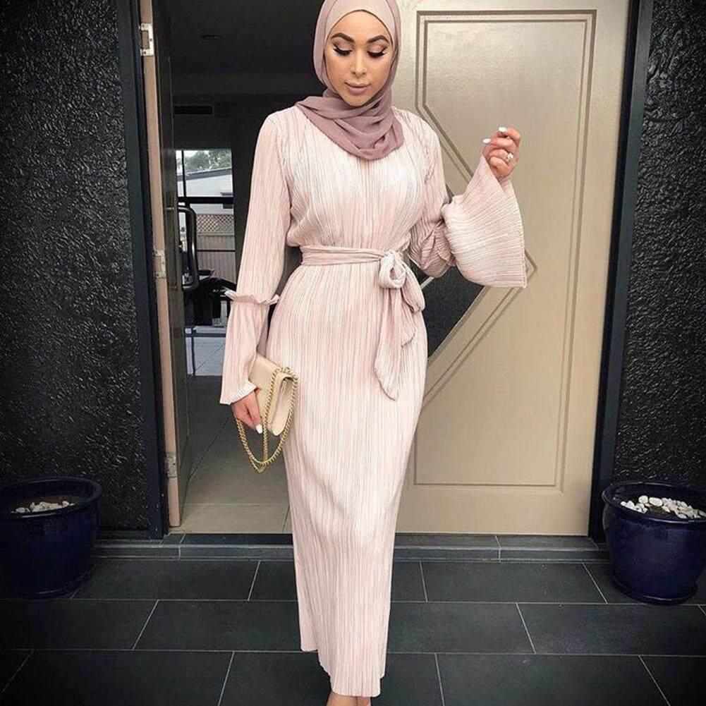 d05c82934a2 Vintage Women Kaftan Abaya Muslim Islamic Cocktail Long Sleeve Maxi Dress