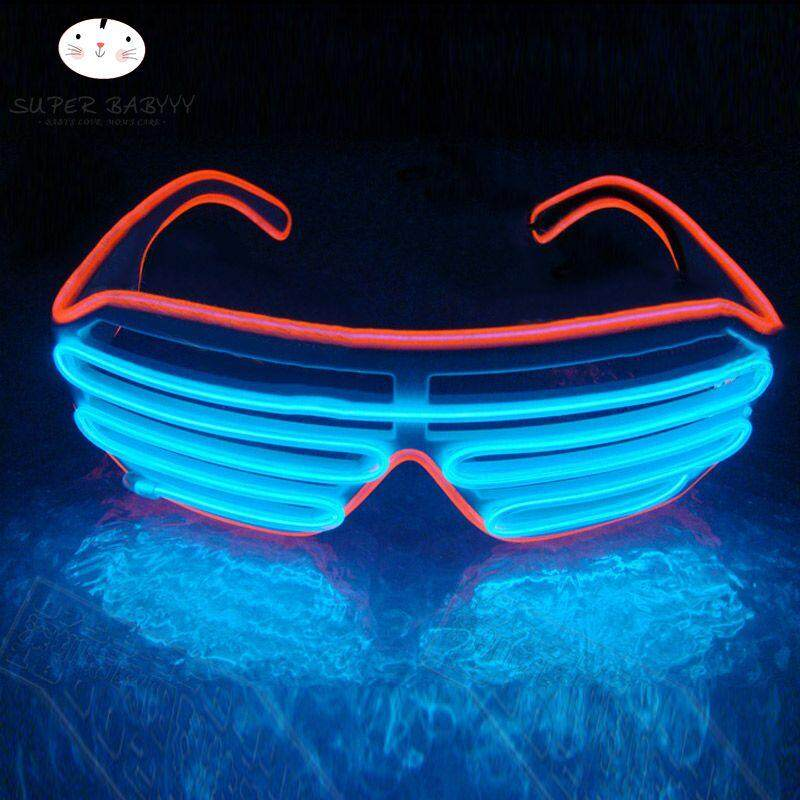 Men's Eyewear Frames Fashion Flashing El Wire Glasses Light Up Glowing Halloween Party Rave Costume