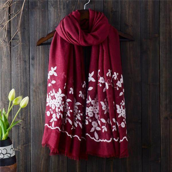 Women Noble Linen Lightweight Embroidery Printed Scarf Spring Soft Shawl Sunscreen Wraps