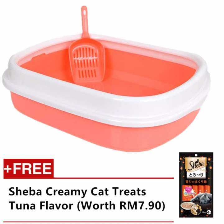 Japanese Pet Kitten Toilet Training Tray + FREE SCOOP -PINK
