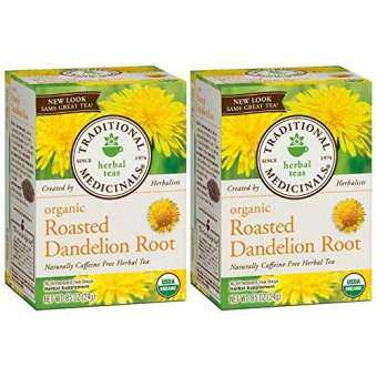 Traditional Medicinals Organic Roasted Dandelion Root Herbal Tea 16 Tea Bags Each / Pack of 2-