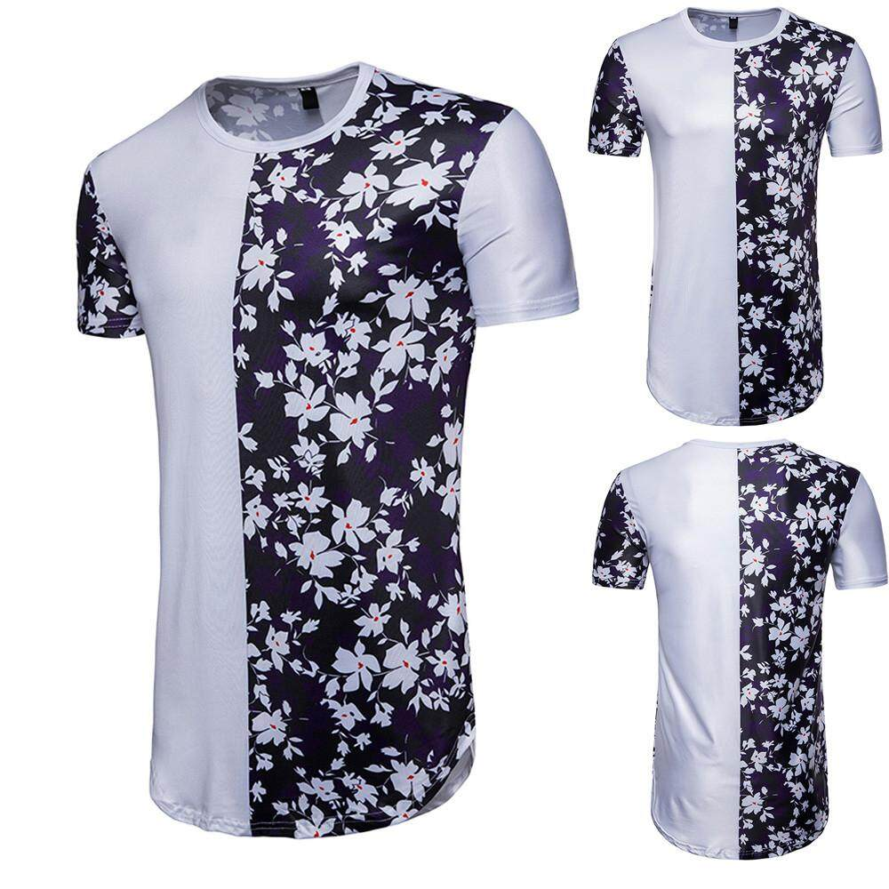 Men's Summer Casual Patchwork Floral Print Short Sleeve T-shirt Top Blouse