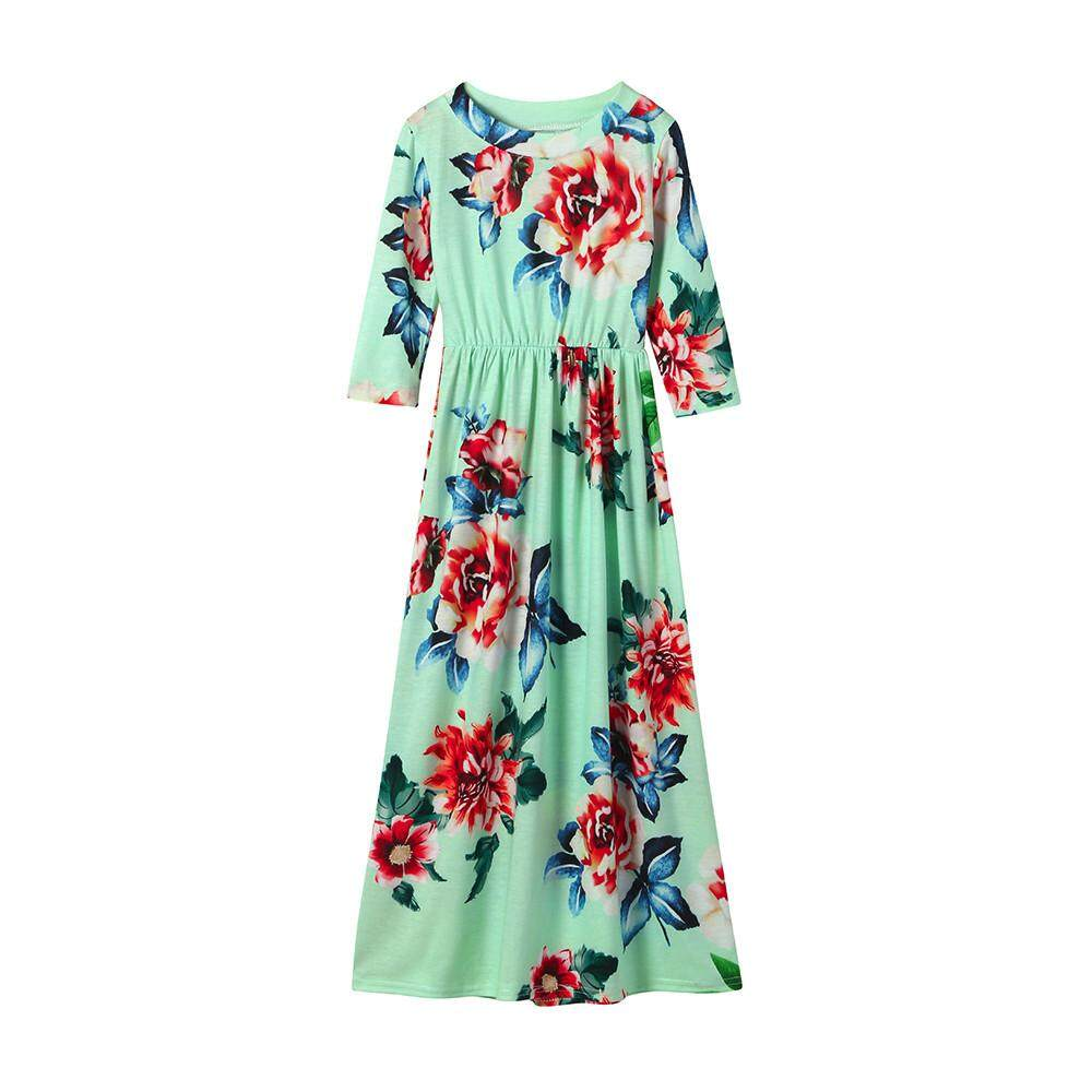 8e553793cb Lawsonshop Fashion Toddler Baby Girl Kid Flower Print Princess Party Dress  Outfits Clothes
