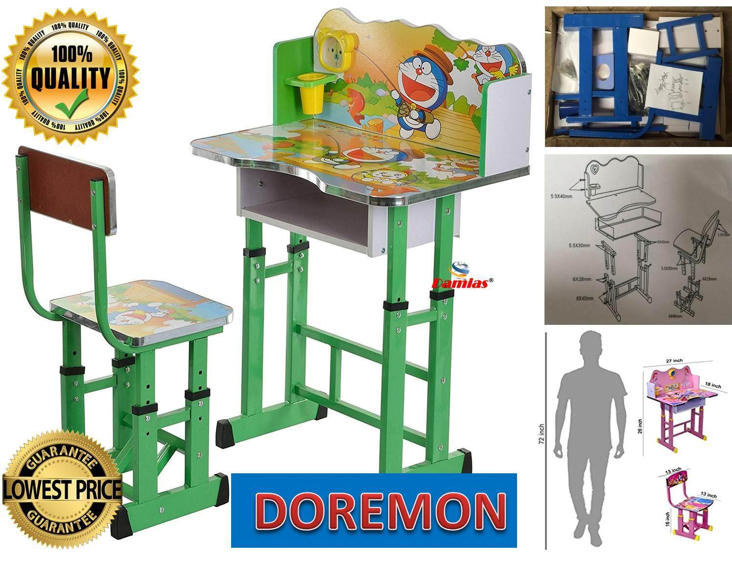 Study Table and Chair Kid Set with Cartoon Theme [ GREEN DOREMON ]