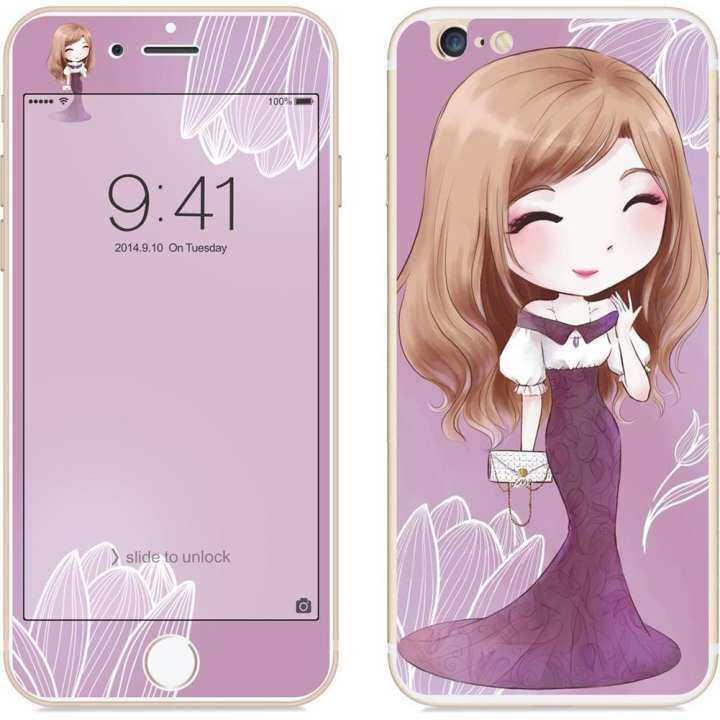 QM untuk iPhone 6/6 S 2.5D Ujung Lengkung Kartun Bunga Gaya Peri Depan & Belakang Colorful Penuh Tempered Glass Protektif Film Spesifikasi: iPhone 6/6 S