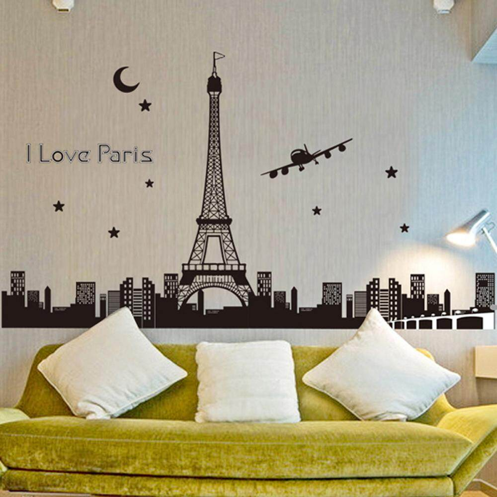 City Eiffel Tower PVC Wall Decals DIY Home Sticker WallPaper Vinyl Wall arts Pictures Removable Murals For House Decoration Baby Living Rooms Bedroom Toilet