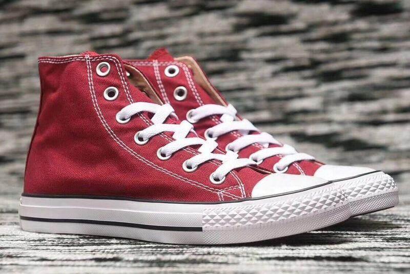 Fashion Wanita dan Sepatu Pria Pria Atasan Tinggi Sepatu Kets Converse Unisex Sepatu Datar Sepatu Kanvas Modis Merah Gelap-Internasional