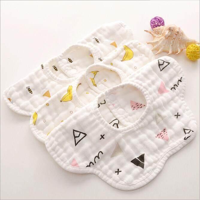 Soft Absorbent Cotton Bibs Saliva Wipe Muslin Towels Drool Bibs for Feeding 6A
