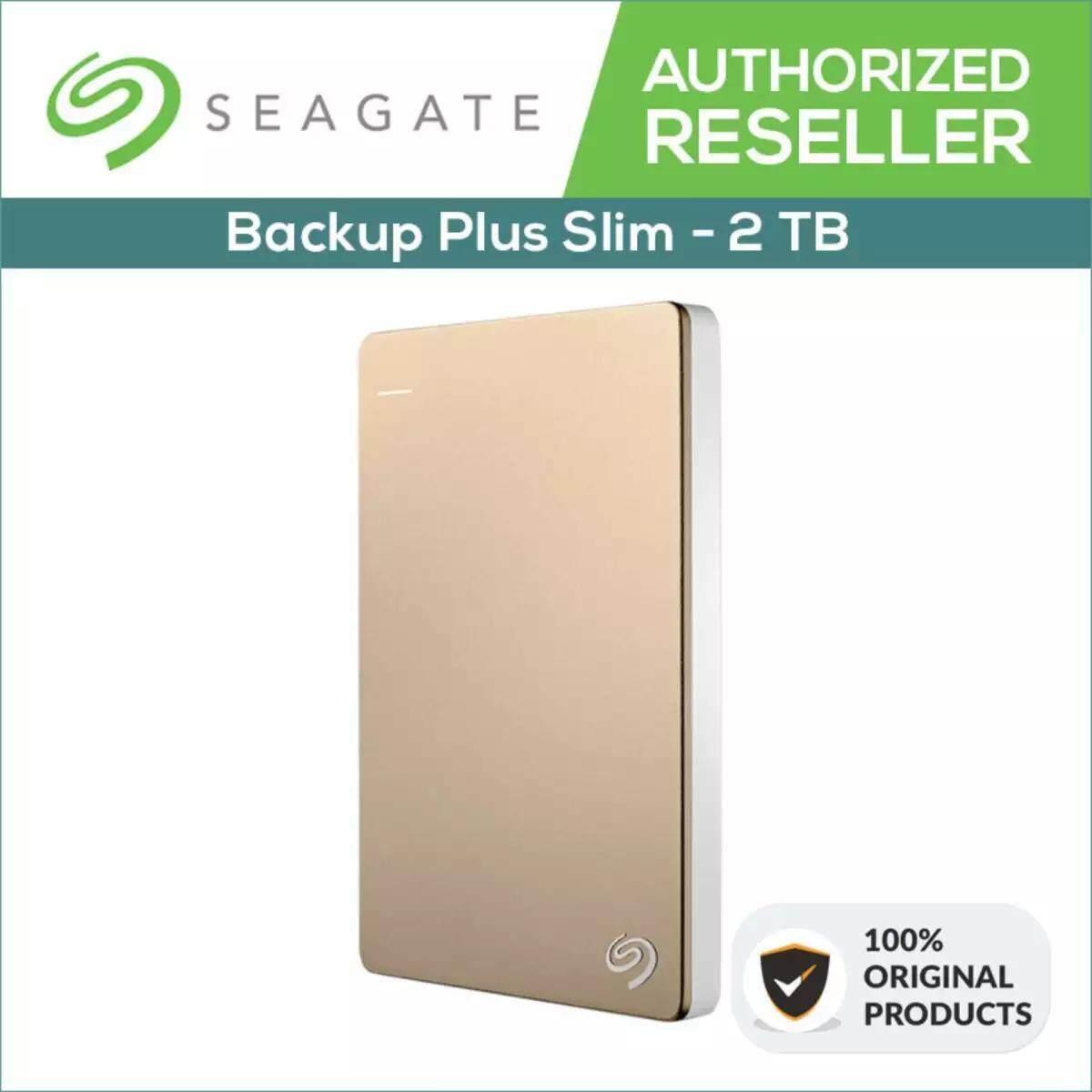 Seagate 2TB HDD Backup Plus Slim Portable External Hard Disk Drive USB 3.0 (Gold)