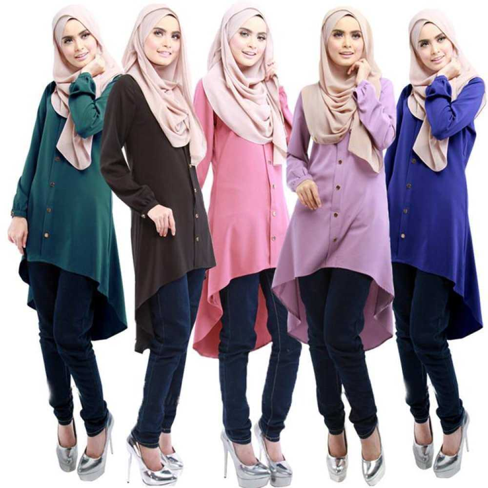 ab46506c8869e5 Baizhu Open Button Long Shirts Muslim Women Arabic Blouses Islamic Women  Muslim Chiffon Shirt Muslim Clothing