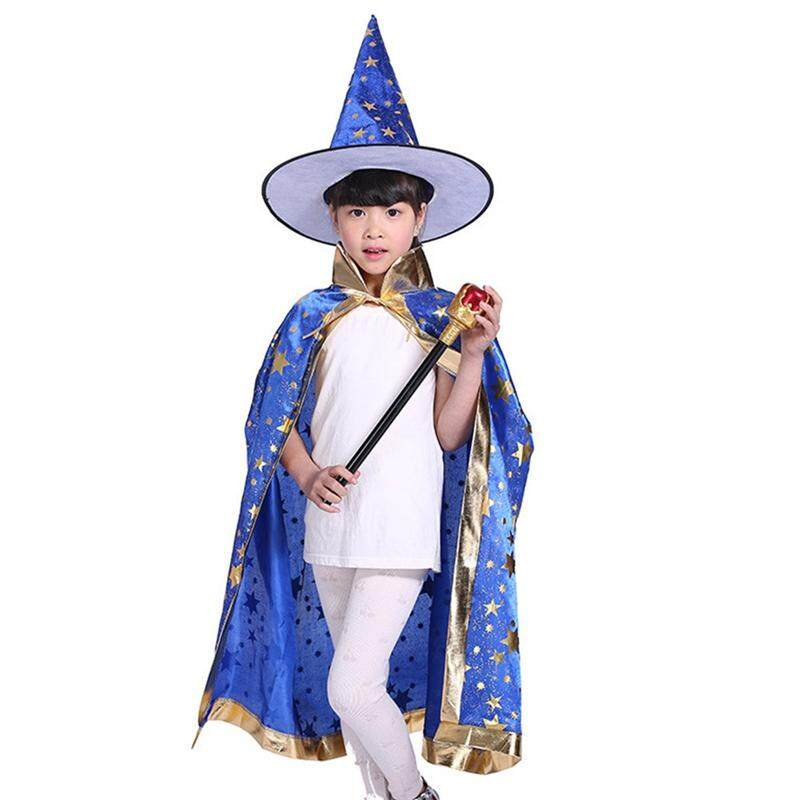 BZY Childrens' Halloween Costume Wizard Witch Cloak Cape Robe and Hat for Boys and Girls