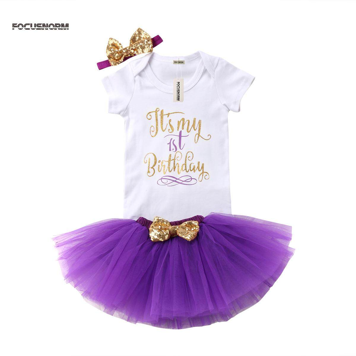 82a4879962 Baby Girls Birthday Dress Rompers Tutu Skirt Headband Outfit Clothes |  Lazada PH