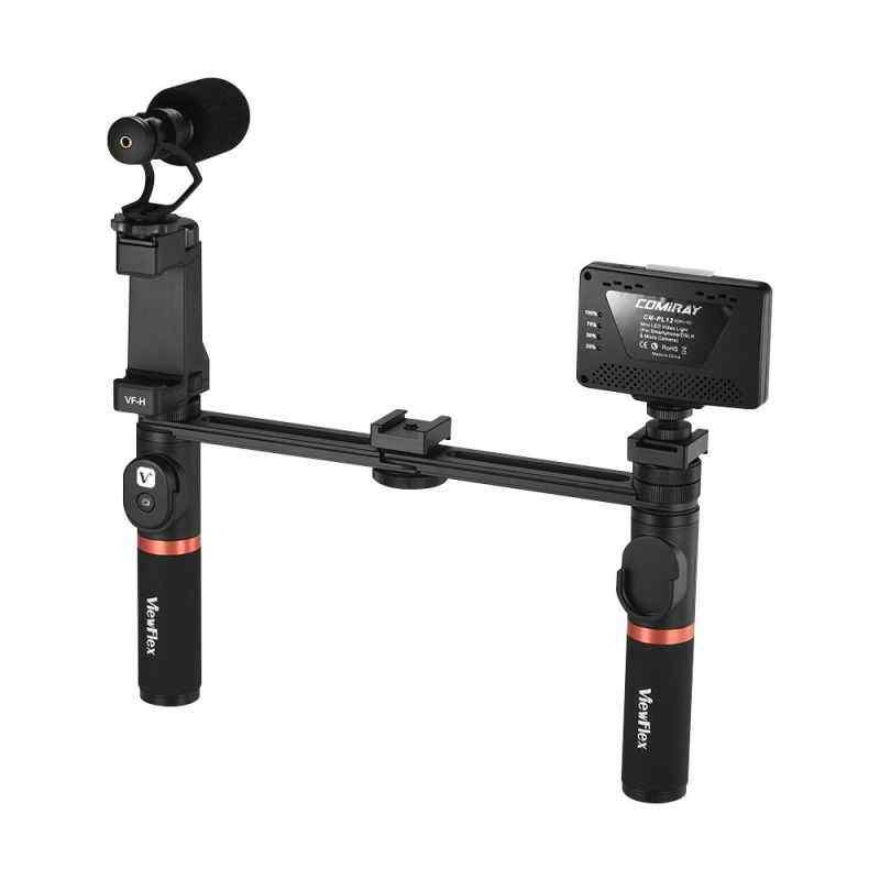 Finemall Viewflex VF-H7 Smartphone Video Rig Dual Genggam Pegangan Logam Perlengkapan Penstabil dengan Pengendali Jarak Jauh/Lampu Yang Bisa Diredupkan/Mikrofon untuk iPhone 6 6 S PLUS untuk Samsung Galaxy S8 + S8 Note 3 Huawei