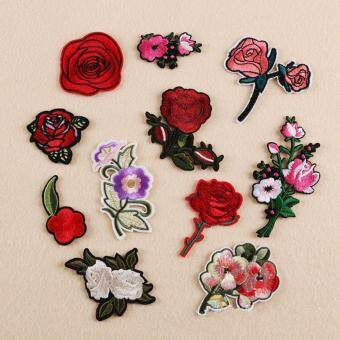 11Pcs Embroidery Rose Flower Sew Iron On Patch Badge Bag Clothes Applique Craft