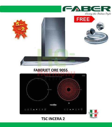 Faber 1400m3/h Cooker Hood FABERJET ORE 90 SS + Faber Built In Ceramic & Induction Cooker TSC INCERA 2 + Free Ducting