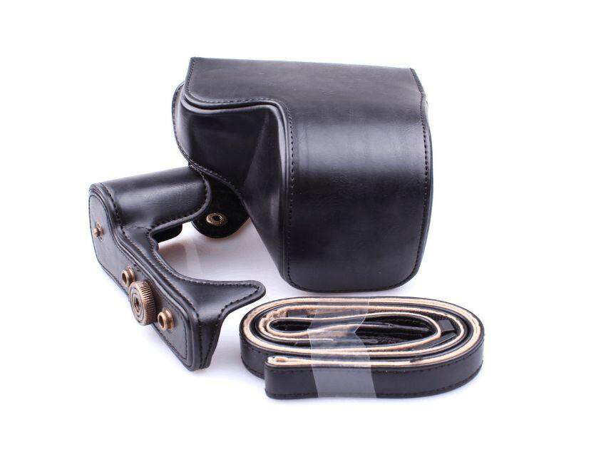 Leather Camera Bag Case Cover Pouch For Sony A6000 A6300 NEX6 BK