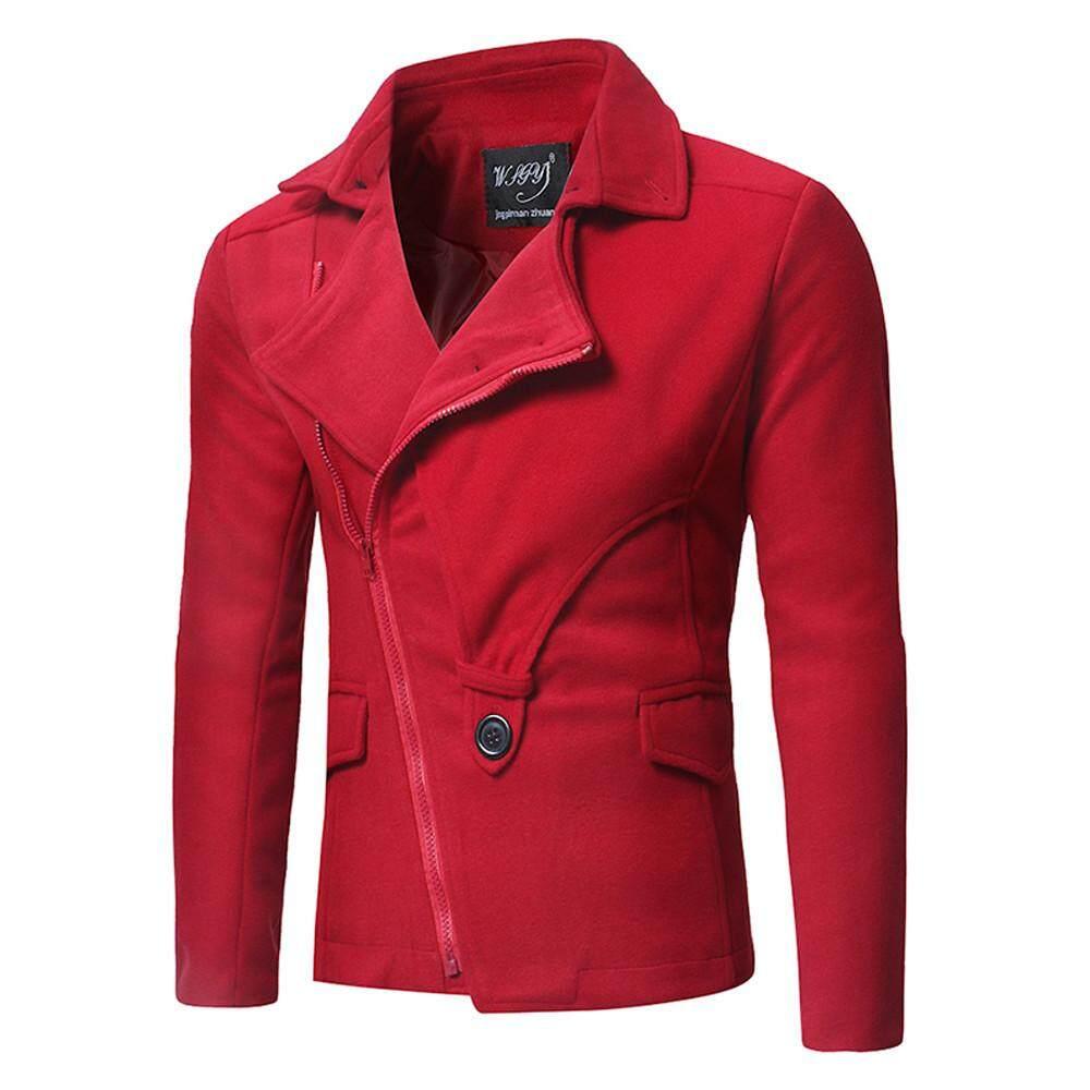 Featured Pria Musim Gugur Musim Dingin Fashion Miring Ritsleting Warna  Tabrakan Jaket Mantel 3f9ffb63d2