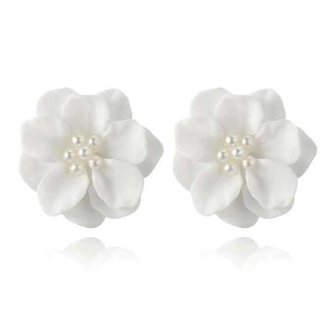 7dddLawsonshop Đáng Yêu màu trắng Hoa Ngọc Trai Mặt Dây Chuyền Vòng Tròn Bông tai Thiết Kế Thời Trang