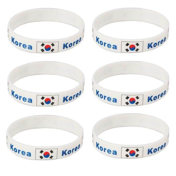 6 Pcs Country Silicone Wristband Fashion Sports Bracelet for 2018 World Cup (Korea)