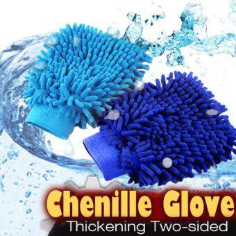 Blue Car Washing Cleaner Gloves Sponge Double Tow Sided Chenille Auto Care Brushes