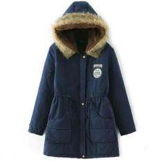 Winter Women's Fur Collar Hooded Cotton Jacket Lambskin Large Size Casual Slim Coat