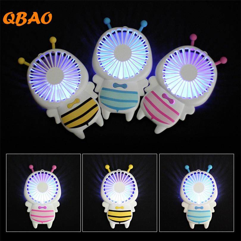 New 2019 Cute Bee Small Fan Portable 5v Air Cooler 2 Speed Adjustable Battery Inside Usb Led Light Mini Rechargeable Handy Ventilator