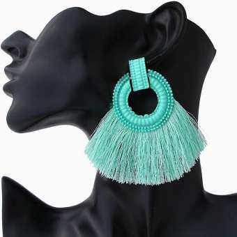 1 Pair Linfang Bohemian Vintage Pattern Female New Popular Sector Tassel Earrings-