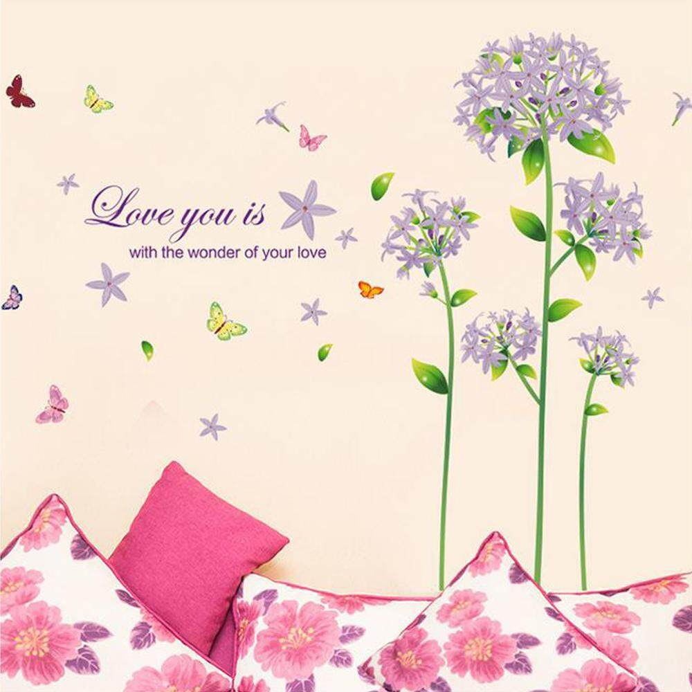Purple Flower Butterflies PVC Wall Decals DIY Home Sticker WallPaper Vinyl Wall arts Pictures Removable Murals For House Decoration Baby Living Rooms Bedroom Toilet