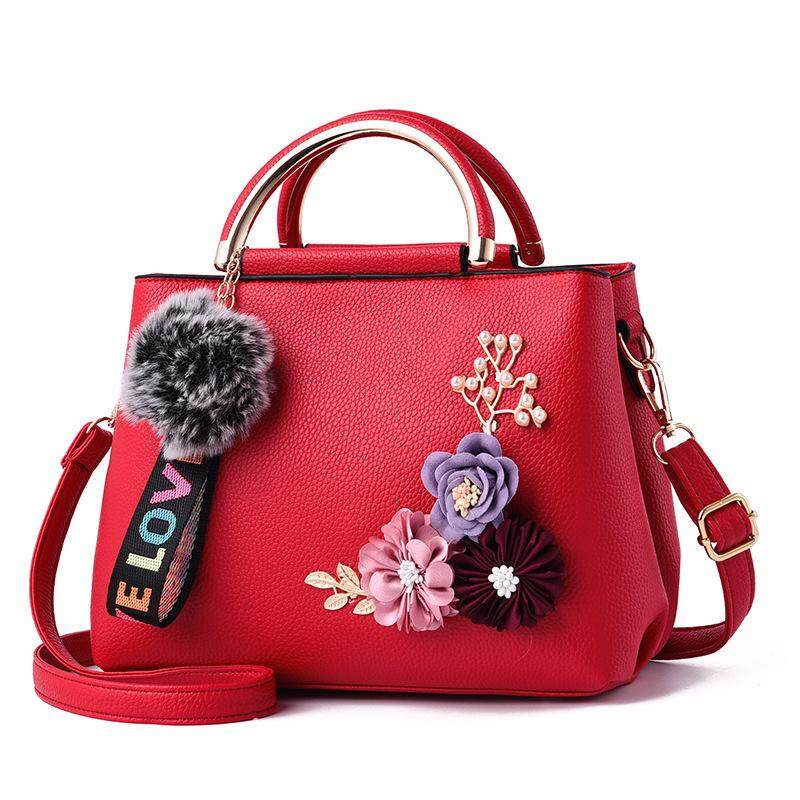 Color Flowers Shell Women's Tote Leather Clutch Bag Small Ladies Handbags