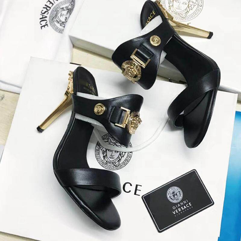 Versace_shoes Fashion Joker 2018 Summer New European And American Leather Elegant, Comfortable And Thin With Exposed Toe Womens High Heel Sandals And Slippers By Cns120.