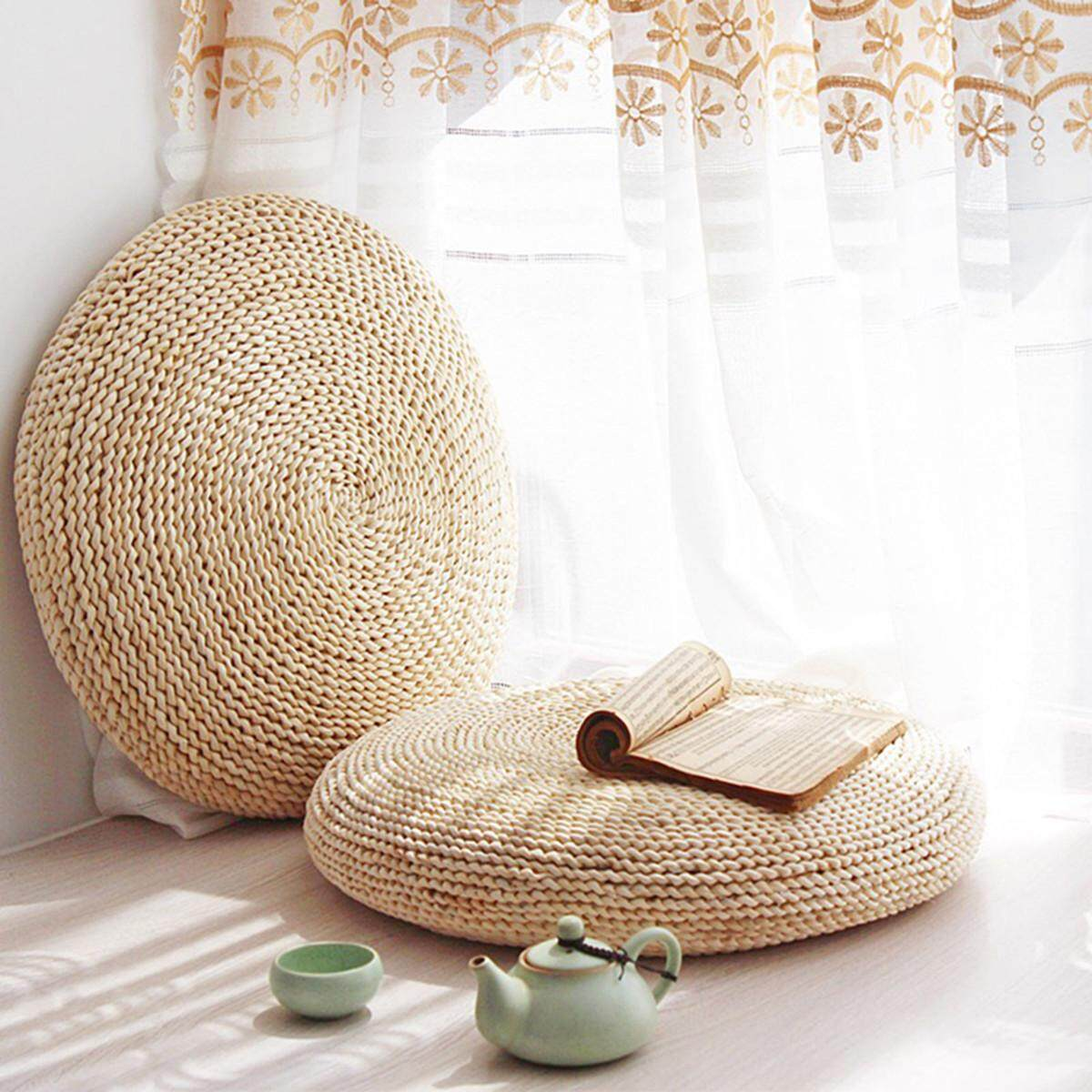 Round Straw Weave Handmade Pillow Floor Yoga Chair Seat Mat Tatami Cushion # 30cm