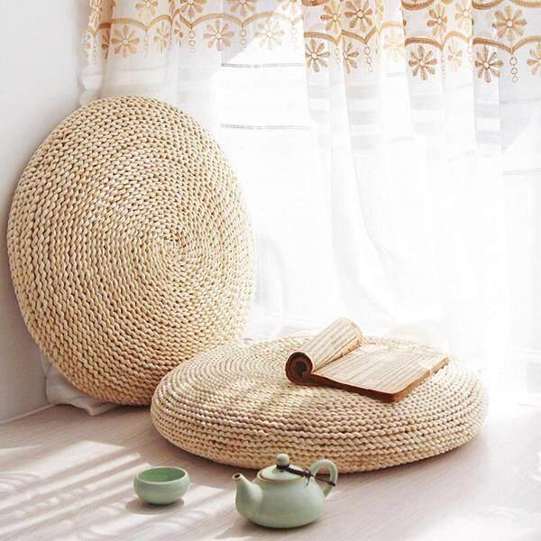 ZGFC68HSA Round Straw Weave Handmade Pillow Floor Yoga 45cm Tatami Seat Mat Chair