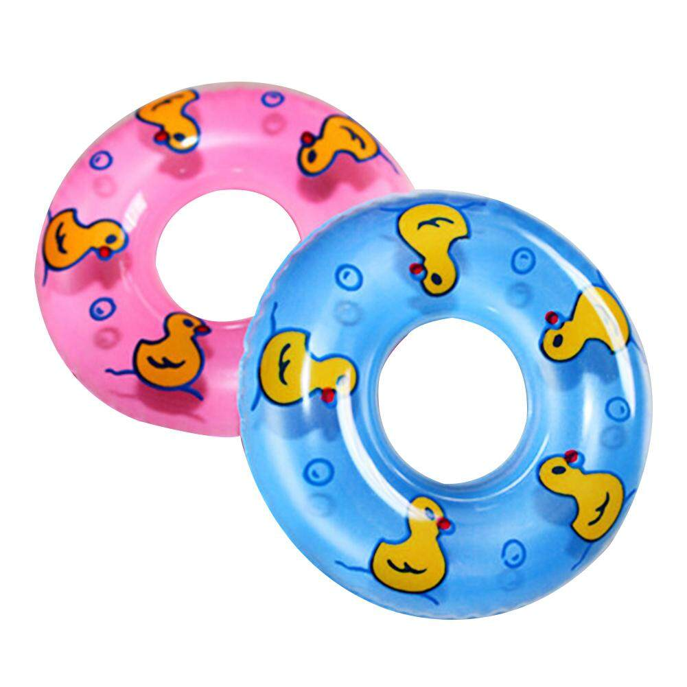 Snow dance 2 Pcs Baby Bath Toy Inflatable Swim Ring Toy Plastic Mini Swim Circle Gift for Kids Pink & Blue