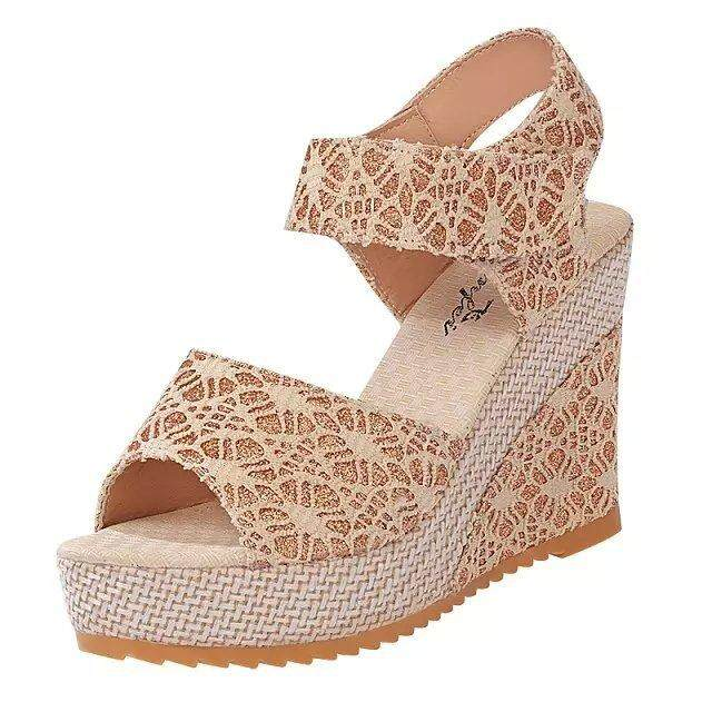 Women Spring Summer Fish Mouth Sandals Fashion High Wedges Sandals Lady Wedge Mesh Shoes Party Shoes