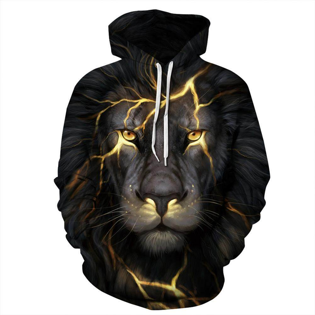 Unisex Casual Long Sleeve Hoodie 3D Lion Printed Hooded Sweatshirt Pullover Tops