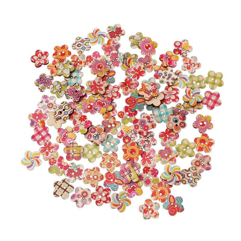 100PCs New Flower Pattern Mix Color 2-hole Sewing Scrapbook DIY
