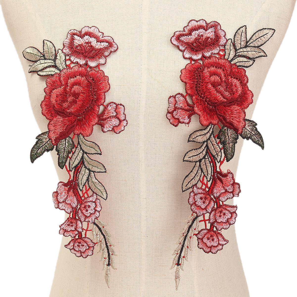 1 Pair DIY Rose Flower Embroidered Patches Sew On Patch Applique For Jeans Pants
