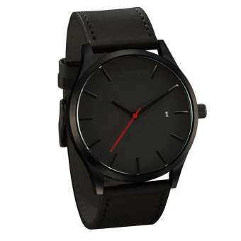 คู่สายหนังแฟชั่น Analog ควอตซ์รอบนาฬิกาข้อมือธุรกิจนาฬิกาสำหรับผู้ชาย-