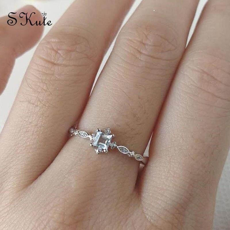Skute Jewelry Cute Simple Ring Square Topaz Diamond Ring Silver