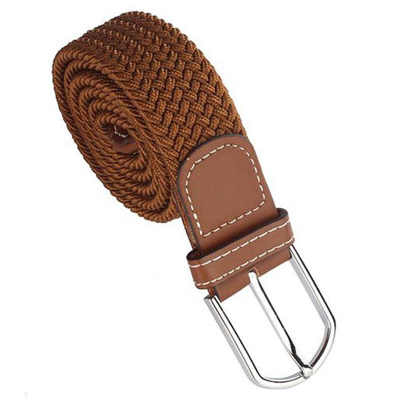 Men Leather Braided Elastic Stretch Metal Buckle Belt Waistband Brown