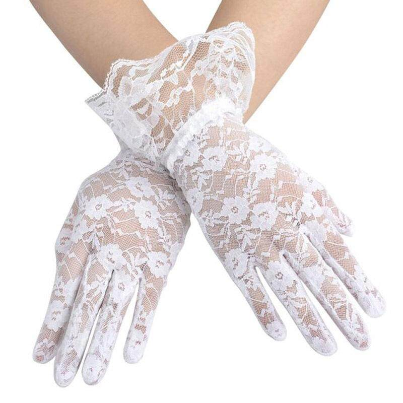 Fashion Women Bridal Evening Wedding Party Prom Driving Costume Lace Gloves white