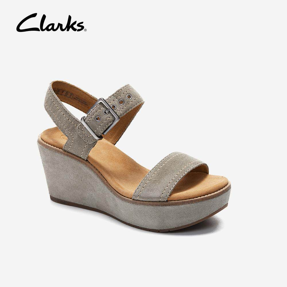 571be37ddf2c Clarks Aisley Orchid Womens Wedge Sandals (Tan Suede)