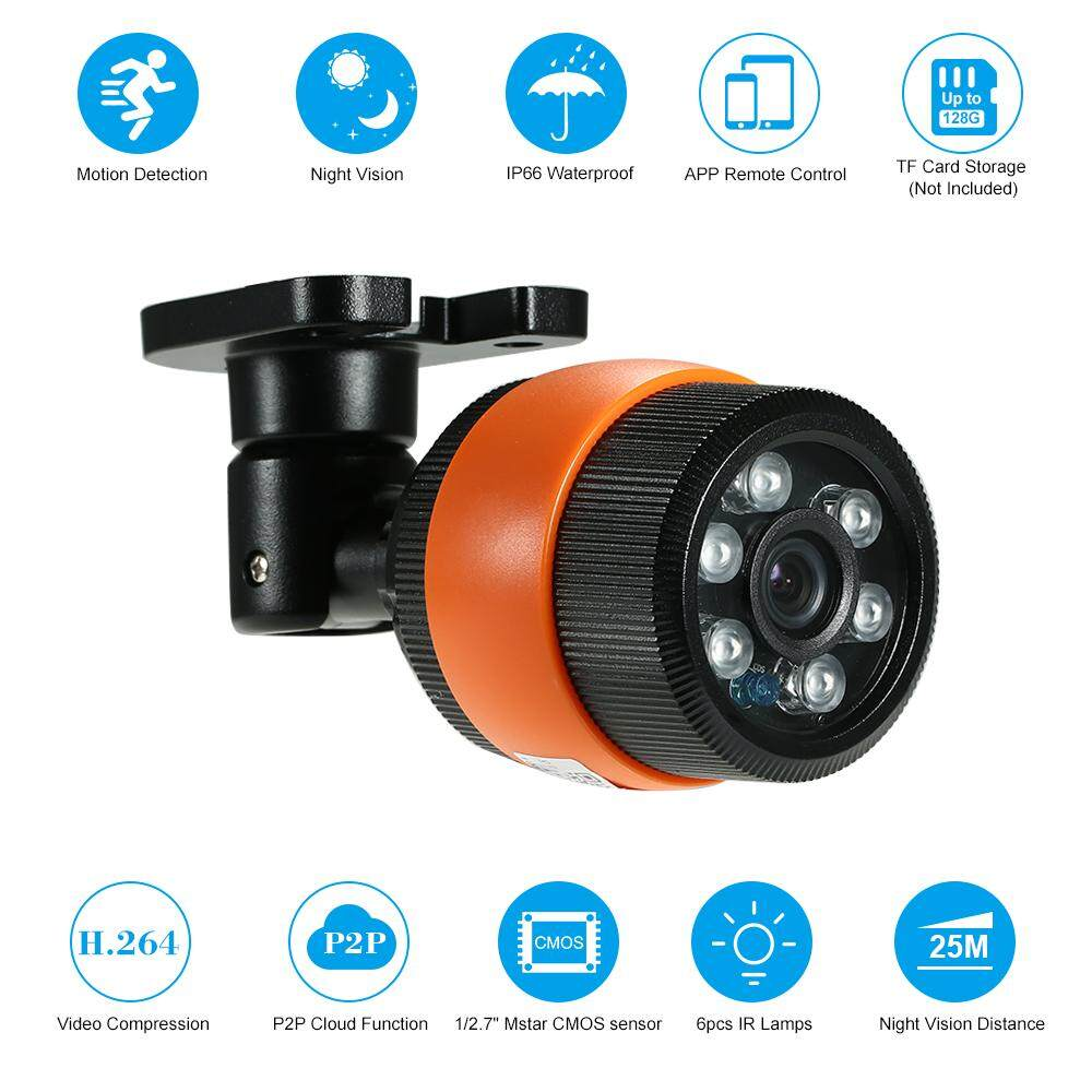 HD 720P IP Camera Waterproof Security Camera Support Cloud Storage P2P Phone APP 1/4' CMOS3.6MM IR-CUT Filter Infrared Night View Motion Detection