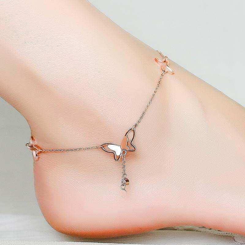 【Butterfly Fringe Anklet】korean Versi Sederhana Temperamen Fashion Frosted Berlian Kecil Tunggal Gelang Kaki